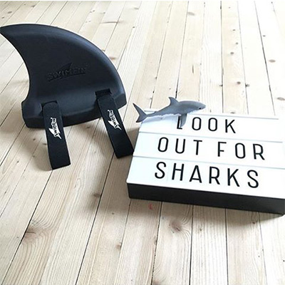 SwimFin with Look Out for Sharks Sign